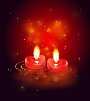 Grußkarte mit brennenden kerzen, leuchtendem rotem herzen und glänzenden funken