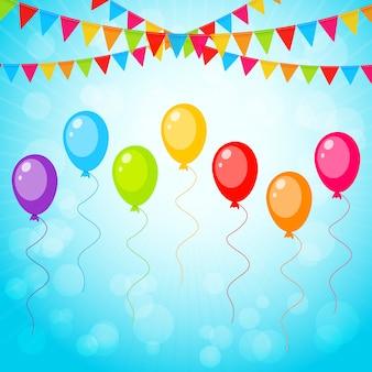 Grußkarte mit bunten luftballons