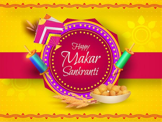 Grußkarte mit drachen, fadenspule, weizenähre und indischem bonbon (laddu) auf gelb und rosa für happy makar sankranti.
