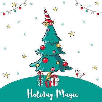 Grußkarte mit einem lächelnden karikaturweihnachtsbaum und geschenken. vektor-illustration