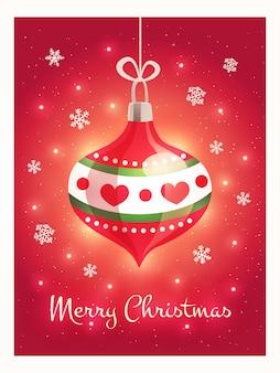 Grußkarte mit einem schönen weihnachtsspielzeug und frohe weihnachten text auf rotem hintergrund.