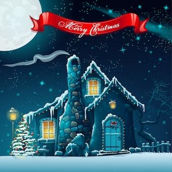 Grußkarte mit einem weihnachtsbaum und einem feenhaus