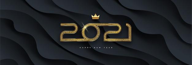 Grußkarte mit goldenem neujahrslogo auf schwarz geschichtetem hintergrund.