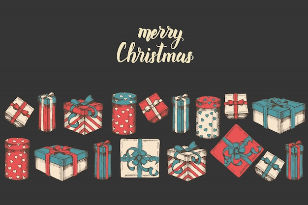 Grußkarte mit hand gezeichnetem satz geschenken, paketen und handgemachtem zitat