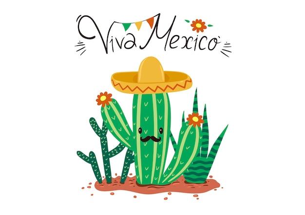 Grußkarte mit kakteen und viva mexico inschrift.