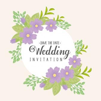 Grußkarte mit rahmen kreisförmig von blumen lila farbe, hochzeitseinladung mit blumen lila