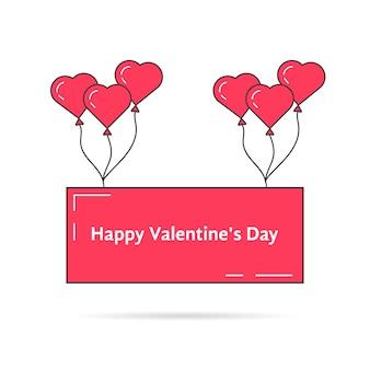 Grußkarte mit rosa luftballons. konzept von ballon, event, freude, geschenk, ballon, romantik, bis zum himmel, freizeit. isoliert auf weißem hintergrund. flacher stiltrend moderne logo-design-vektor-illustration