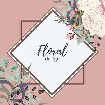 Grußkarte mit rosen, aquarell, kann als einladungskarte für hochzeit, geburtstag und anderen feiertag verwendet werden