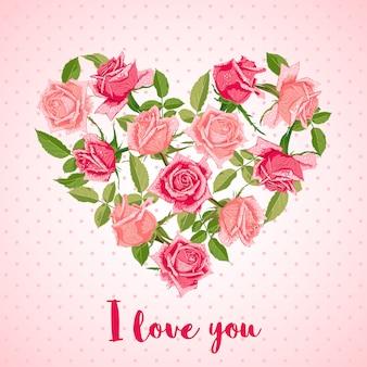 Grußkarte mit rosen in form des herzens.