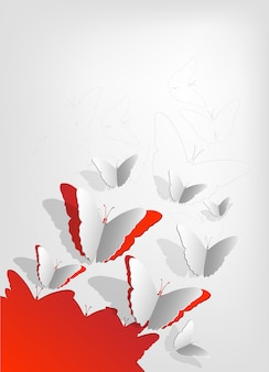 Grußkarte mit schmetterlingen. banner mit papierschmetterlingen. schmetterlingsabstraktion banner. illustration. schmetterling origami. schmetterling auf rotem grund.