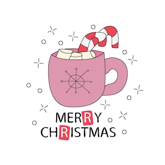 Grußkarte mit tasse kakao. frohe weihnachten-schriftzug. vorlage für neujahrskarten und frohe weihnachten-poster oder doodle-druck