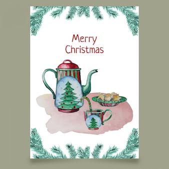 Grußkarte mit wasserkocher, tasse und kuchen