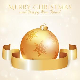 Grußkarte mit weihnachtsball und -band