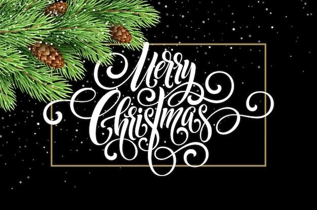 Grußkarte mit weihnachtsbaum und kalligraphischem seufzer frohe weihnachten. vektor urlaub illustration