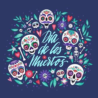 Grußkarte mit zuckerschädeln für den traditionellen mexikanischen herbstfeiertag. spanischer schriftzug bedeutet tag der toten