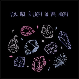 Grußkarte - rosa, lila, blaue kristalle oder edelsteine auf schwarz, edelsteine, diamanten