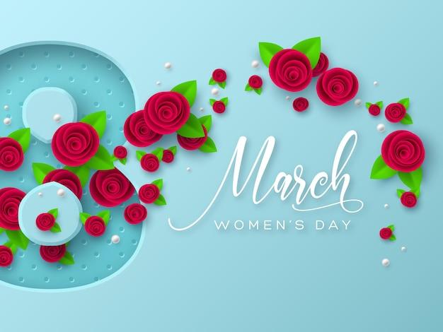 Grußkarte vom 8. märz zum internationalen frauentag. 3d papierschnitt nummer 8 mit rosen und blättern