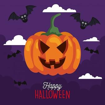 Grußkarte von fröhlichem halloween und kürbis mit fliegenden fledermäusen