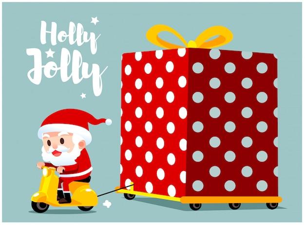 Grußkarte von santa claus-charakter auf roller fahren