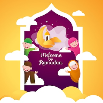 Grußkarte willkommen zur ramadanillustration mit niedlichem glücklichem muslimischen charakter