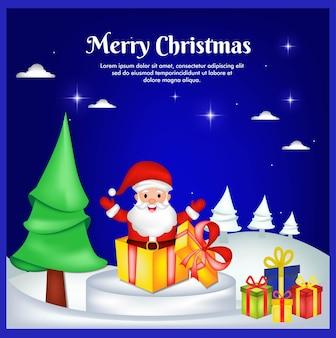 Grußkarte zu weihnachten mit weihnachtsmann und geschenkbox