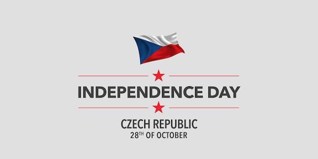 Grußkarte zum unabhängigkeitstag der tschechischen republik, banner, vektorillustration. feiertag 28. oktober gestaltungselement mit wehender flagge als symbol der unabhängigkeit