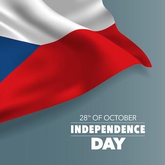 Grußkarte zum unabhängigkeitstag der tschechischen republik, banner, vektorillustration. nationalfeiertag 28. oktober hintergrund mit elementen der flagge, quadratisches format