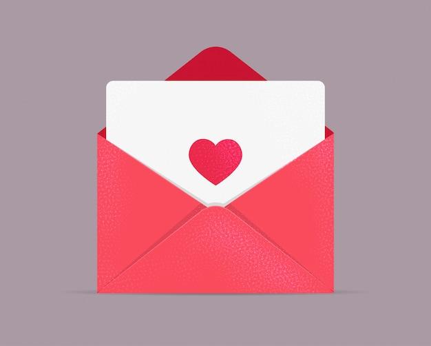 Grußkarte zum valentinstag. geöffneter umschlag mit karte und herz. liebesbrief. sei mein valentinsschatz