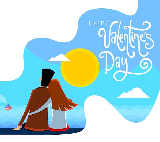 Grußkarte zum valentinstag im cartoon-stil