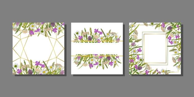 Grußkarten-templstes-set mit grün und blumen