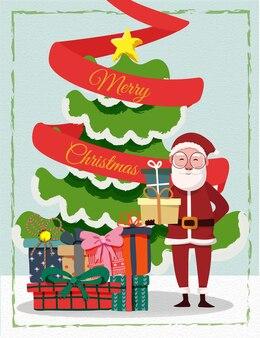 Grußkartenillustration santa klausel und geschenk