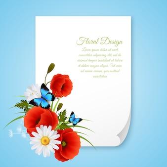 Grußkartenpapierblatt mit textschablone und blumendekoration