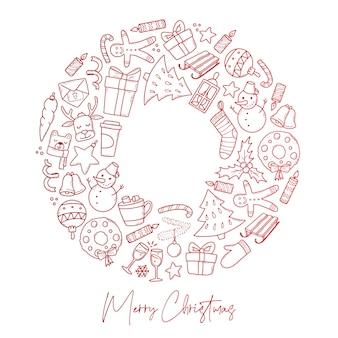 Grußkartenplakat der frohen weihnachten mit kritzeleien