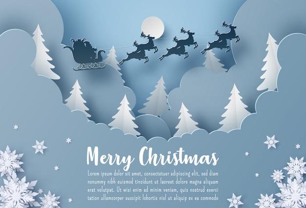 Grußkartenschablone der frohen weihnachten mit santa claus- und renfliegen auf dem himmel