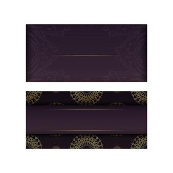 Grußkartenvorlage in burgunderfarbe mit luxuriösem goldmuster für typografie vorbereitet.