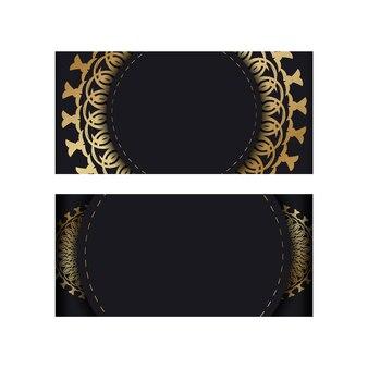 Grußkartenvorlage in schwarz mit goldenem vintage-muster