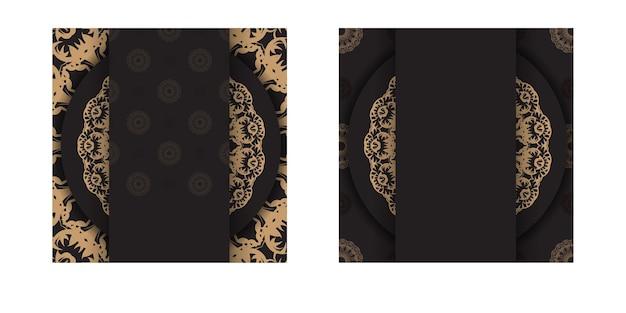 Grußkartenvorlage in schwarzer farbe mit brauner griechischer verzierung