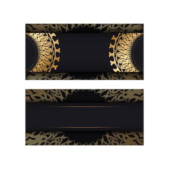 Grußkartenvorlage in schwarzer farbe mit goldenem griechischem muster