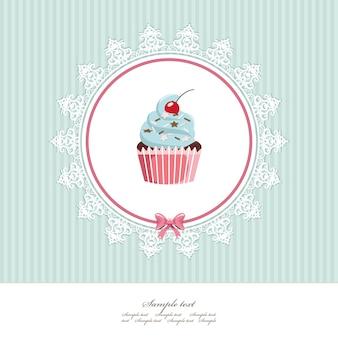 Grußkartenvorlage mit cupcake.
