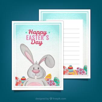 Grußkartenvorlage mit kaninchen und eier für ostern tag
