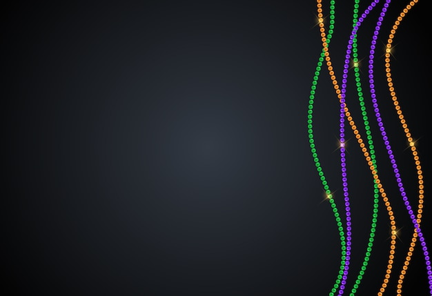 Grußkartenvorlage mit perlen für mardi gras zur dekoration und abdeckung. illustration