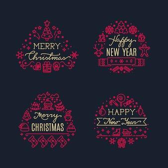 Grußskripte der frohen weihnachten mit weihnachtsfeiertagslinie ikonen. vektor festgelegt