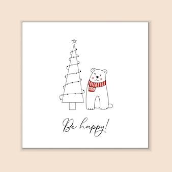 Grußvorlage mit einem niedlichen teddybären und einem stilisierten weihnachtsbaum