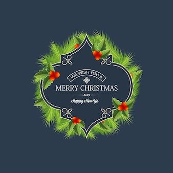 Grußweihnachts-nadelkranzschablone mit text in der eleganten rahmennaturbeeren-stechpalmenbeerenillustration des eleganten rahmens