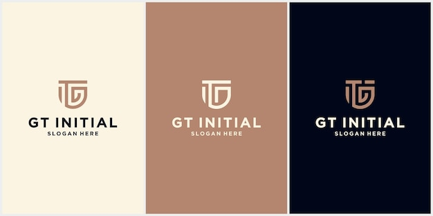 Gt minimalistic art logo anfangsbuchstabe, gt logo mit schutzkonzept, gt log corporate design logo template