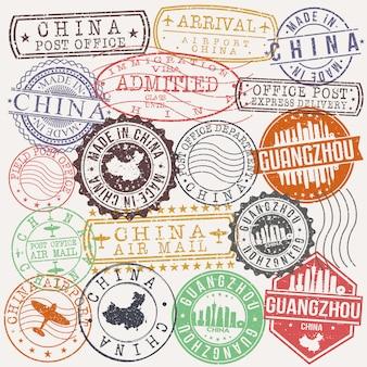 Guangzhou china satz von reise- und geschäftsstempel-designs