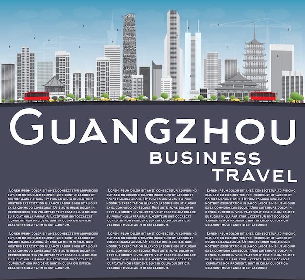 Guangzhou skyline mit grauen gebäuden und.
