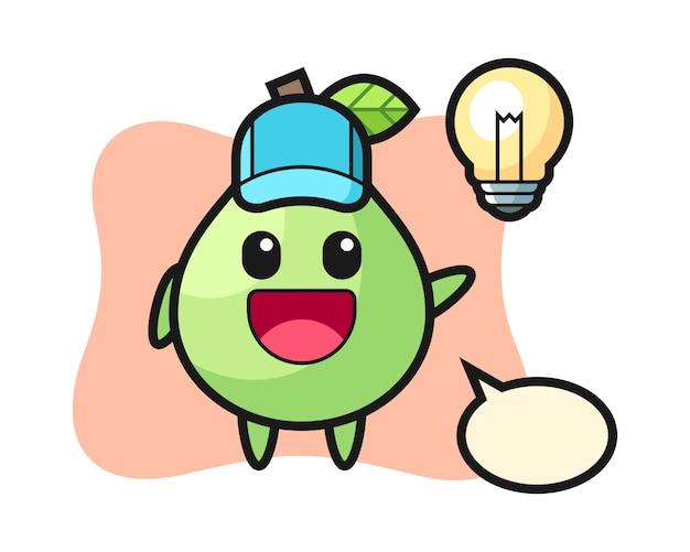 Guave charakter cartoon bekommen die idee, niedlichen stil für t-shirt, aufkleber, logo-element
