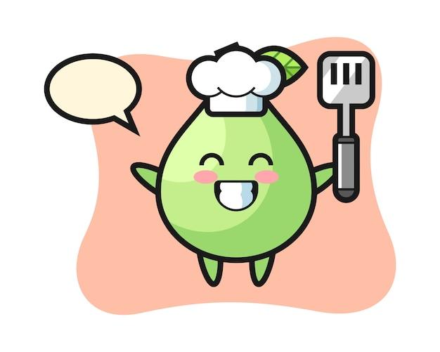Guave charakterillustration als koch kocht, niedlicher stil für t-shirt, aufkleber, logoelement