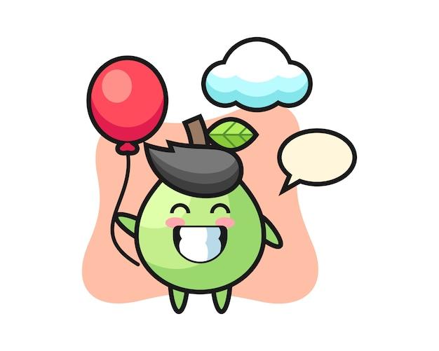 Guave maskottchen illustration spielt ballon, niedlichen stil für t-shirt, aufkleber, logo-element